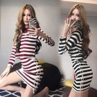Set: Long-Sleeve Striped Top + Lace-Up Skirt 1596