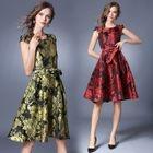 Cap-Sleeve Floral Dress 1596