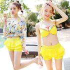 Set: Bikini Top + Swimskirt + Floral Print Cover-Up Top 1596
