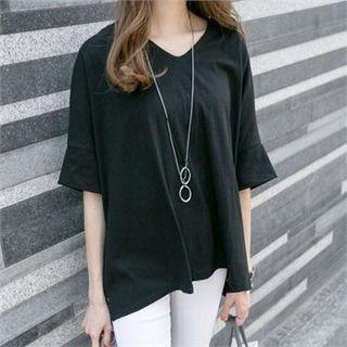 V-Neck Elbow-Sleeve T-Shirt 1058178080