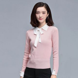 Bow Detail Collared Sweater 1054669512