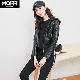 Image For Mock Two-Piece Hooded Faux Leather Jacket