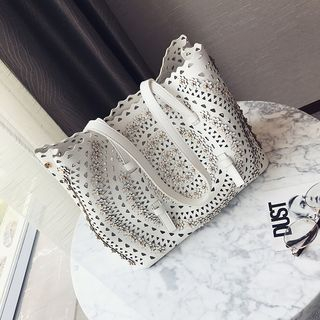 Flower Applique Perforated Faux Leather Tote 1061797386