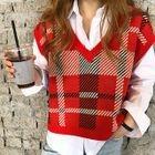 V-Neck Sleeveless Plaid Knit Top 1596