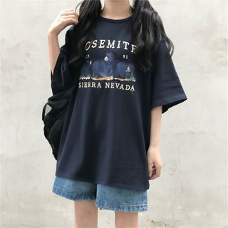 Bear Embroidered Lettering Oversized T-shirt