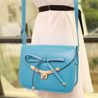 Twist-Lock Bow-Accent Crossbody Bag