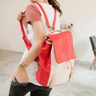 Color-Block Buckled Flap Backpack