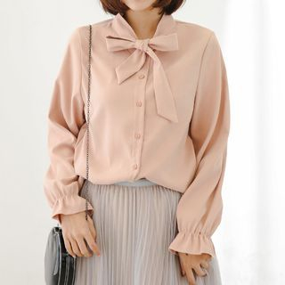 Bow Long-Sleeve Blouse