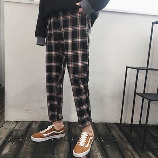 Plaid Straight-Cut Pants