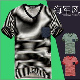 Short-Sleeve V-Neck Striped T-Shirt 1035903272