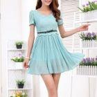 Short-Sleeve Lace Panel Chiffon Dress 1596