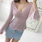 Cutaway-Shoulder Bell-Sleeve Knit Top 1596