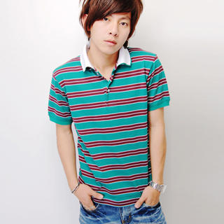 Buy SLOWTOWN Short-Sleeve Striped Polo Shirt 1023012413