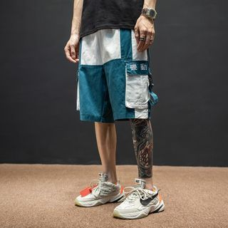 Image of Buckled-Accent Colorblock Cargo Shorts