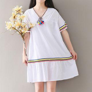 V-neck Short-Sleeve Dress 1061273702