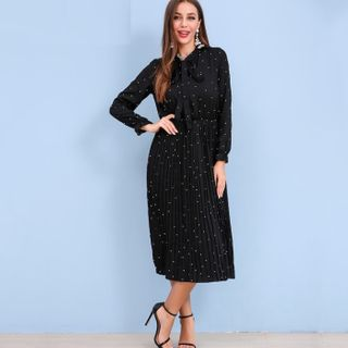 Image of Dotted Tie-Neck Long-Sleeve Midi Shift Dress