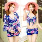 Set: Floral Print Bikini Top + Swim Shorts + Cover-Up 1596