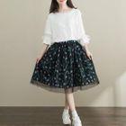 Mesh Panel Printed A-Line Skirt 1596