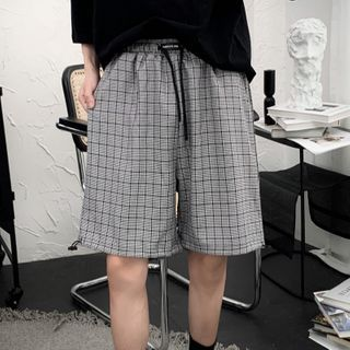 Image of Drawstring-Waist Plaid Straight-Cut Shorts