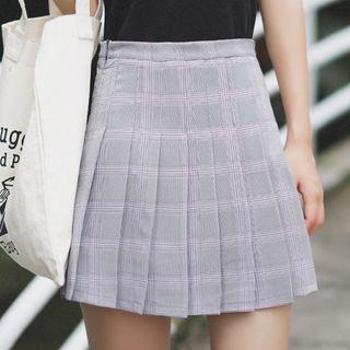 Plaid Pleated Mini Skirt 1060857583