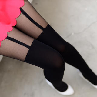 Two-Tone Tights Black - One Size 1035082255