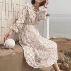Floral Long-Sleeve A-Line Midi Dress 1596