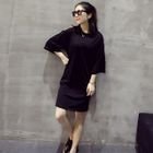 3/4-Sleeve Cutout Dress Black - One Size от YesStyle.com INT