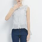 Sleeveless Frilled-Trim Striped Blouse 1596