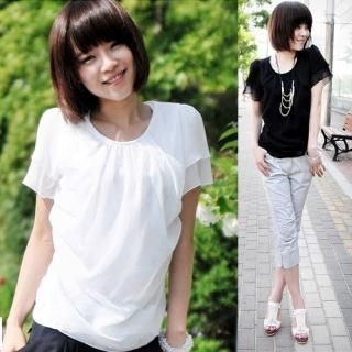 Buy Miss Hong Short-Sleeve Top (2 Designs) 1022816466