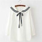 Sailor Collar Bow Accent Ribbon Long-Sleeve Top 1596