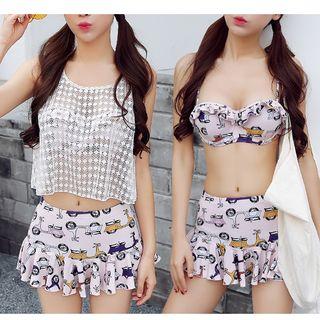 Set: Printed Bikini Top + Swimskirt + Lace Cover-Up Top 1051029189