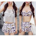 Set: Printed Bikini Top + Swimskirt + Lace Cover-Up Top 1596