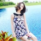 Lace Yoke Floral Print Swimdress 1596