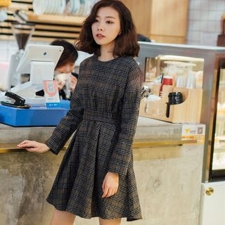 Tie-Waist Plaid Long-Sleeve Dress 1063713210