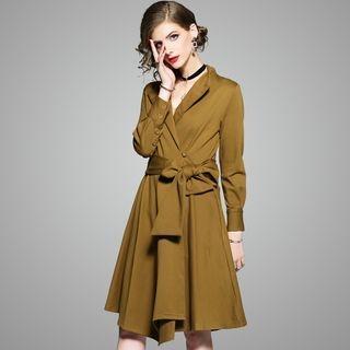 Long-Sleeve Tie-Waist Dress 1063759634