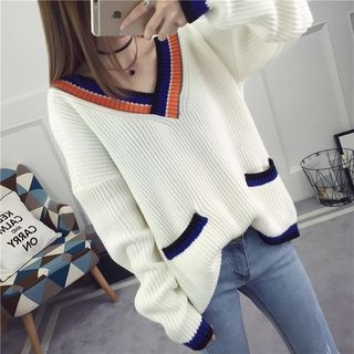 Contrast Trim Ribbed Sweater 1060587296