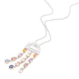 Image For 18K White & Rose Gold Pendant with Diamonds and Colorstones