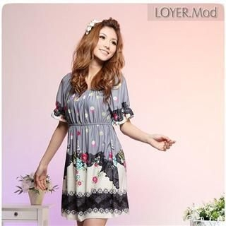 Buy LOYER.mod Floral Print Empire Dress 1022279345