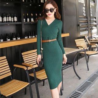 V-Neck Rib Knit Dress 1053962367