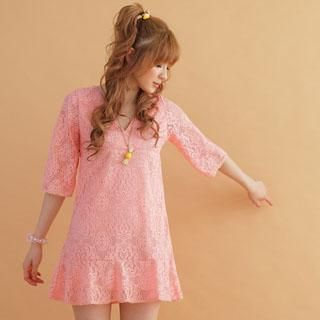Picture of 2kilo Set: V-Neck Lace Dress + Camisole 1022561990 (2kilo Dresses, Womens Dresses, Taiwan Dresses)