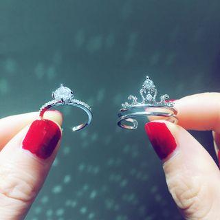 Image of Rhinestone Crown Layered Open Ring / Rhinestone Open Ring