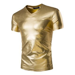 Metallic V-neck Short-Sleeve T-shirt 1049487154