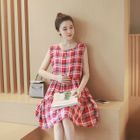 Maternity Sleeveless Check Dress 1596