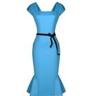 Short Sleeve Ruffle Hem Midi Dress 1596