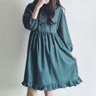 Plain Frill Trim Long Sleeve Dress 1596