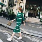 Set: Striped Knit Top + Striped Knit Skirt 1596