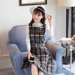 Set: Mock Neck Long-Sleeve Knit Top + Check Pinafore Dress 1054112310