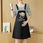 Maternity Set: Striped Long Sleeve T-Shirt + Printed Pinafore Dress 1596