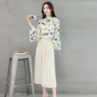 Set: Flare-Sleeve Butterfly-Print Blouse + Wide-Leg Pants 1596