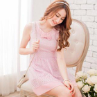 Bow-Accent Lace Sleeveless A-Line Dress 1596